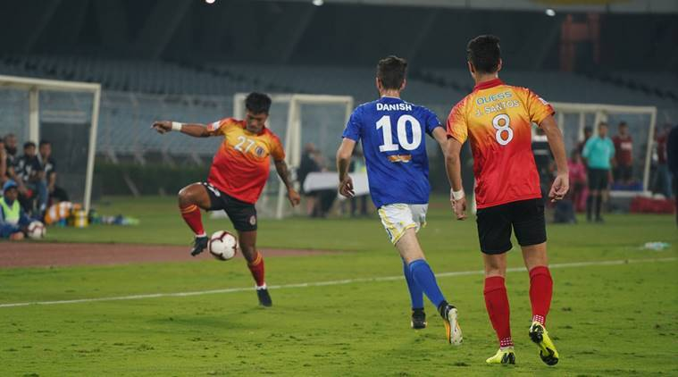 East bengal and Real Kashmir players in action in the I-League