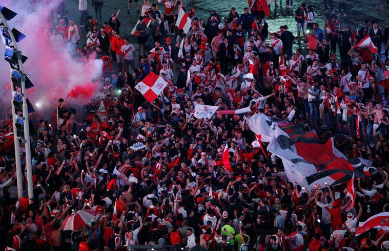 River Plate fans celebrate in downtown Buenos Aires after winning the Copa Libertadores final