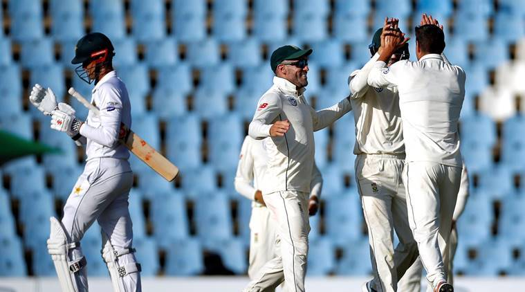 Pakistan's Shaheen Afridi leaves the crease after he was bowled out by South Africa's Duanne Olivier.