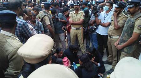 On Sunday, a group of women were also forced to return without offering prayers at Sabarimala Temple. (Express photo)