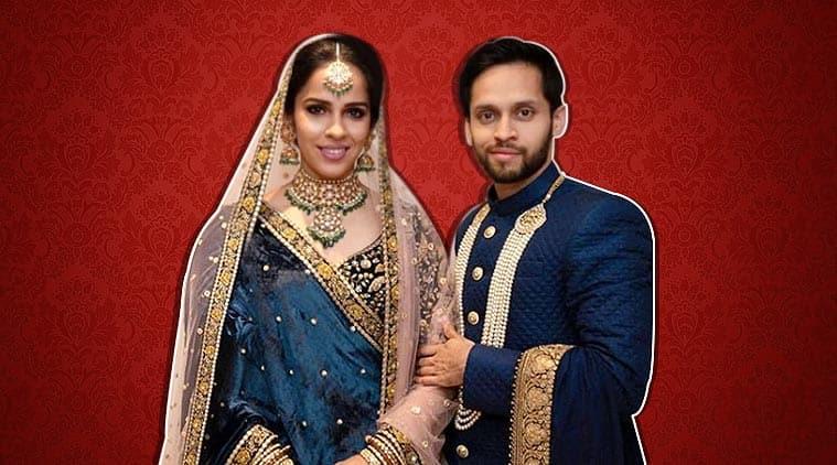 saina nehwal wedding, saina nehwal reception, saina nehwal parupalli kashyap sabyasachi, saina nehwal marriage, saina wedding, badminton news, sports news, indian express