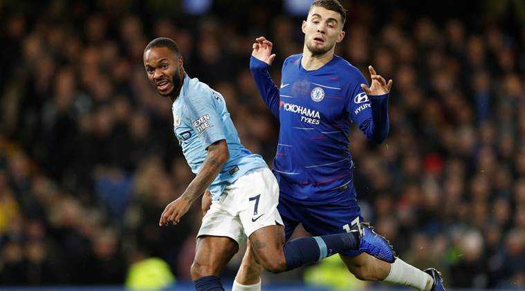 Manchester City's Raheem Sterling in action with Chelsea's Mateo Kovacic. (Source: Reuters)