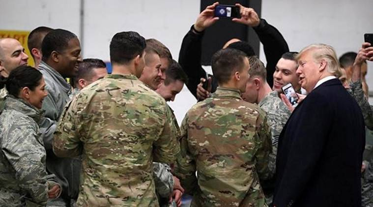 US President Donald Trump greets US troops at Ramstein Air Force Base, Germany. (Reuters)