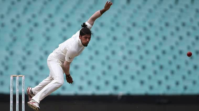 India's Umesh Yadav bowls during their tour cricket match against Cricket Australia XI in Sydney