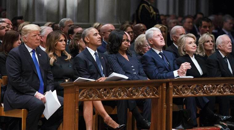 George Bush, George Bush funeral, George Bush farewell, George w Bush, Donald Trump, Barack Obama, Former US presidents, Former US president, US news, world news, Indian express