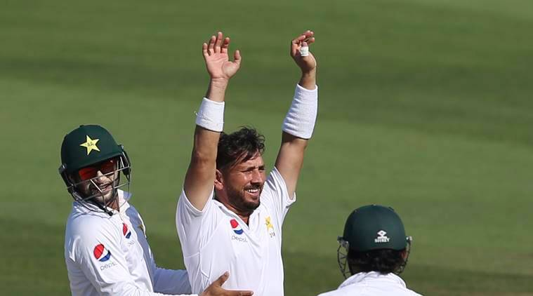 Pakistan's Yasir Shah celebrates dismissal of New Zealand's Will Sumerville in their test match in Abu Dhabi, United Arab Emirates