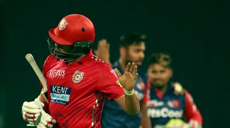 Kings XI Punjab's Yuvraj Singh after lose his wicket during the IPL match between Delhi Daredevils and Kings XI Punjab at Ferozshah Kotla in New Delhi on Monday.