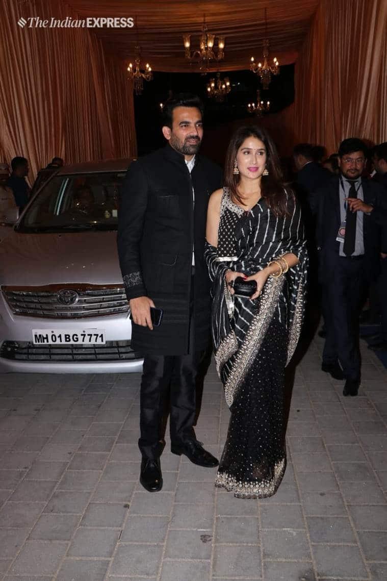 zaheer khan, sagarika ghatge at isha ambani wedding reception