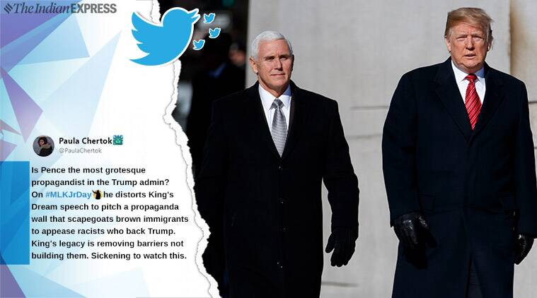 Martin Luther King Jr, MLK remembrance day, mike pence, donald trump, pence compare trump to MLK video, pence MLK speech, viral news, indian express, world news