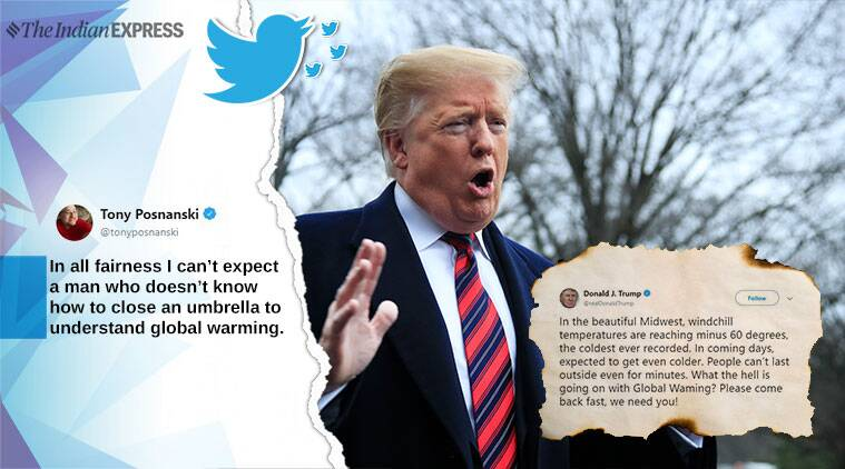 donald trump, global warming, trump need global warming tweet, us midwest snow storm, climate change, trump climate tweets, trump spelling mistake, indian express, viral news