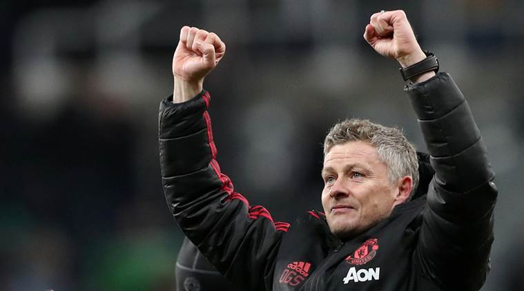 anchester United interim manager Ole Gunnar Solskjaer celebrates at the end of the match REUTERS