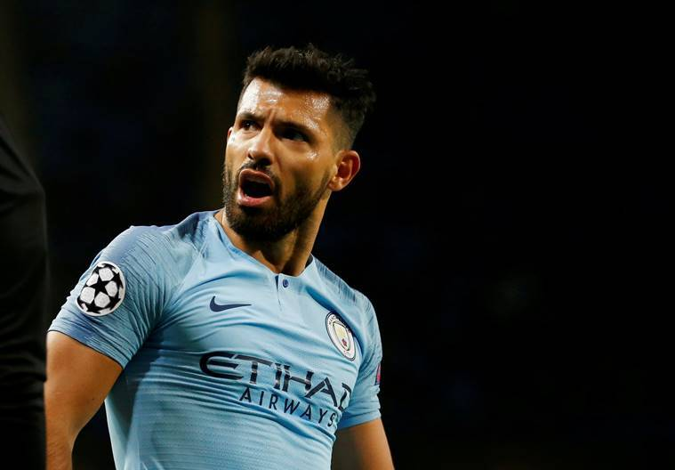 Manchester City's Sergio Aguero reacts during the match