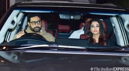aishwarya and abhishek bachchan at sonali bendre house juhu
