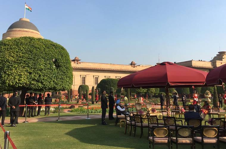 At-home ceremony underway at the Presidentail House. Former PM Manmohan Singh and Justice Ranjan Gogoi are visible. The traditional event has been organised by President Ram Nath Kovind. (Express Photo by Neeraj Priyadarshi)