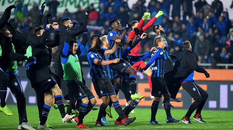 Atalanta players celebrate after the match against Juventus