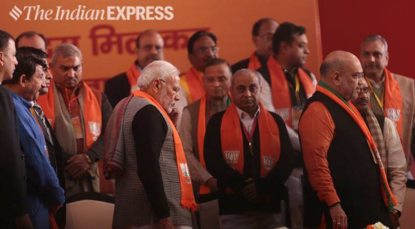bjp national council meeting, bjp national executive meeting, bjp meeting, ramlila maidan, lok sabha elections, lok sabha elections 2019, narendra modi, amit shah