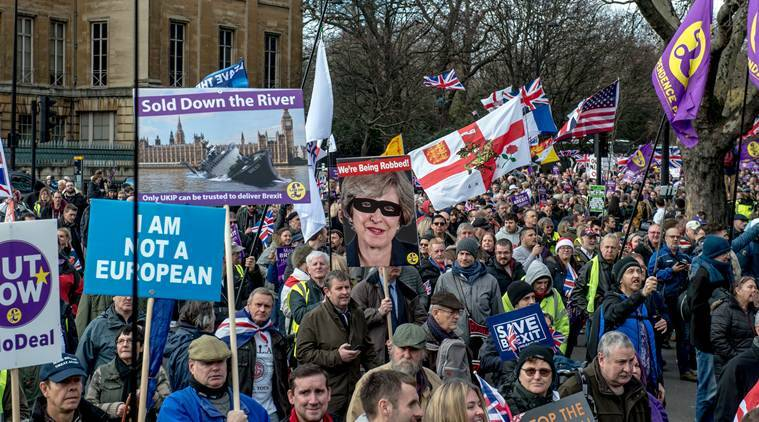 Brexit supporters march through London. (New York Times/File)