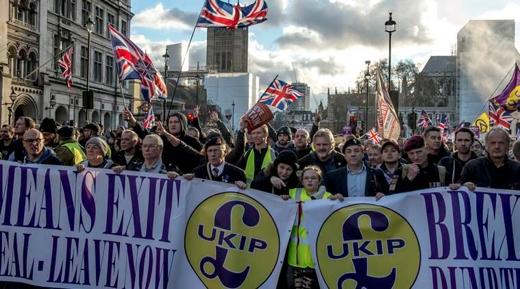 A pro-Brexit demonstration in central London.