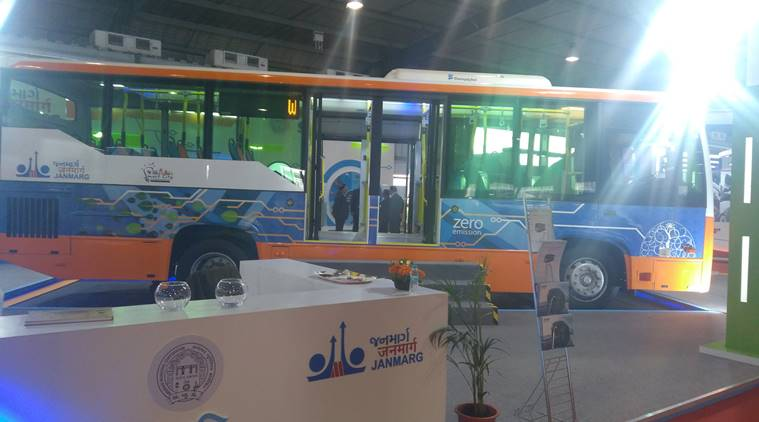 On display at Vibrant Gujarat Trade Show — BRTS e-buses