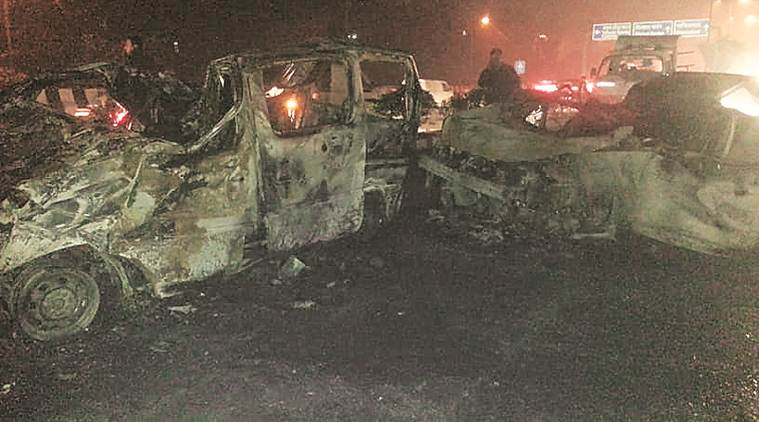 Delhi: 3 dead as cars go up in flames after crash