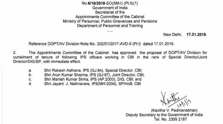 After Alok Verma, his rival Rakesh Asthana is moved out of CBI