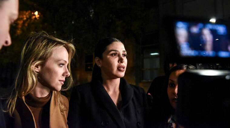 Emma Coronel Aispuro, center, the wife of Joaquín Guzmán Loera, the Mexican drug lord known as El Chapo, departs the Brooklyn Federal Courthouse. (File/New York Times)
