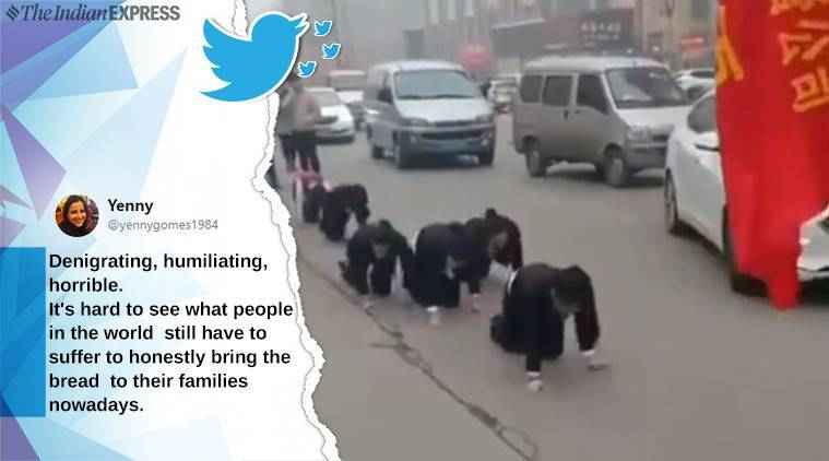 China, Chinese employee forced to crawl, employees forced to crawl as punishment, bizarre china,