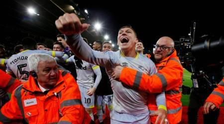 Derby County's Martyn Waghorn celebrates with team mates after the match against Southampton in the FA Cup