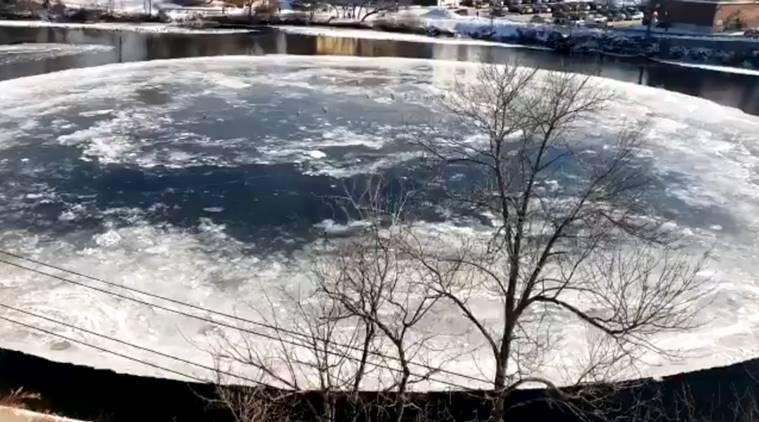 spinning ice disc, spinning ice disc viral video, Maine river, US, disc on Maine river, viral video,