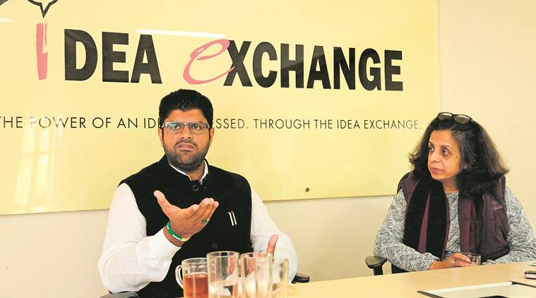 Dushyant Chautala, Jannayak Party, Jind bypoll, Jind Bypoll, INDL, Dushyant chautala idea exchange, Idea exchange Dushyant Chautala, inld jind bypoll, Congress inld, BJP, Chautala family haryana, Chautala family dispute, Indian express, latest news