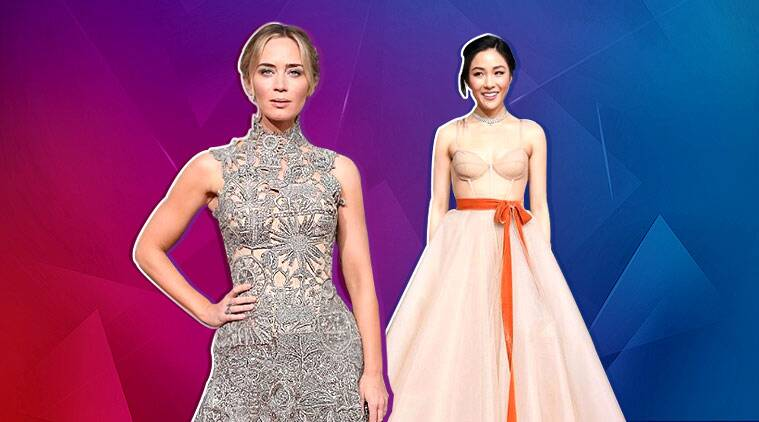 golden globe awards 2019, golden globe award fashion 2019, golden globe award fashion trend 2019, constance wu golden globe 2019, emily blunt golden globe 2019, indian express, indian express news