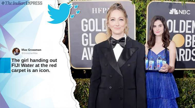 fiji water girl, #fijiwatergirl, fijij water girl golden globes, golden globes, celebs at golden globes, fiji water girl photobomb, awards golden globes,