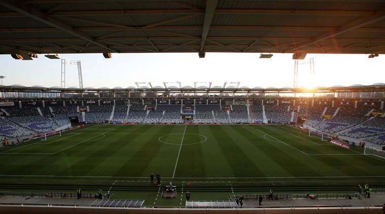 Football Stock photo: General view inside the Stadium Municipal de Toulouse before Toulouse v Olympique Lyon.