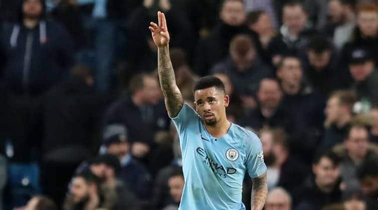 Manchester City's Gabriel Jesus celebrates scoring their second goal against Wolves