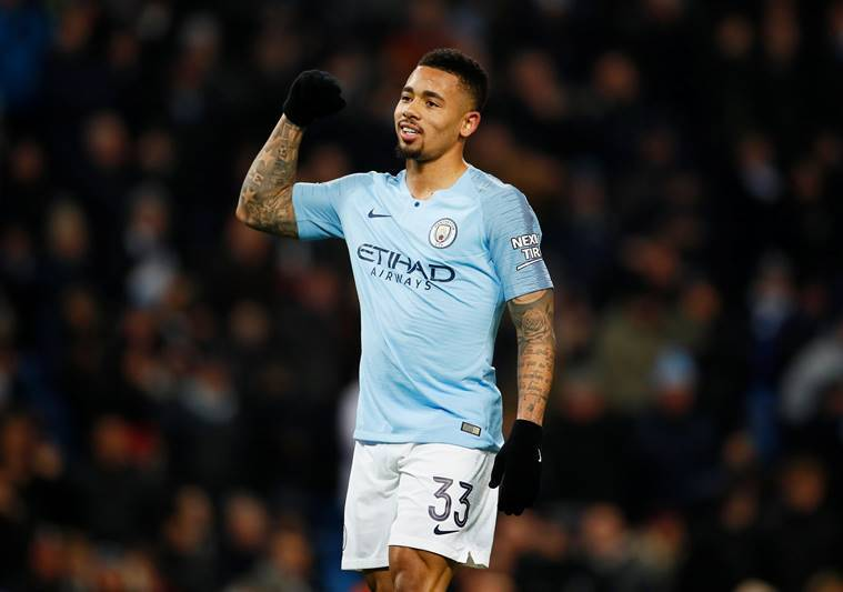Manchester City's Gabriel Jesus celebrates scoring their fifth goal to complete his hat-trick against Burton Albion