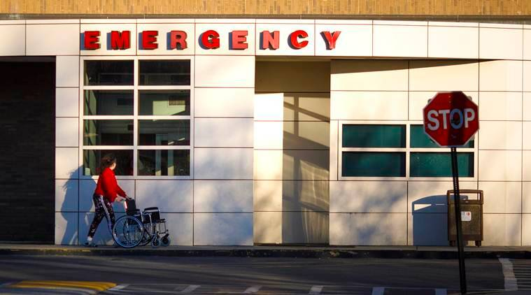 The emergency vehicle entrance at the Howard University Hospital in Washington. (Tom Brenner/The New York Times)