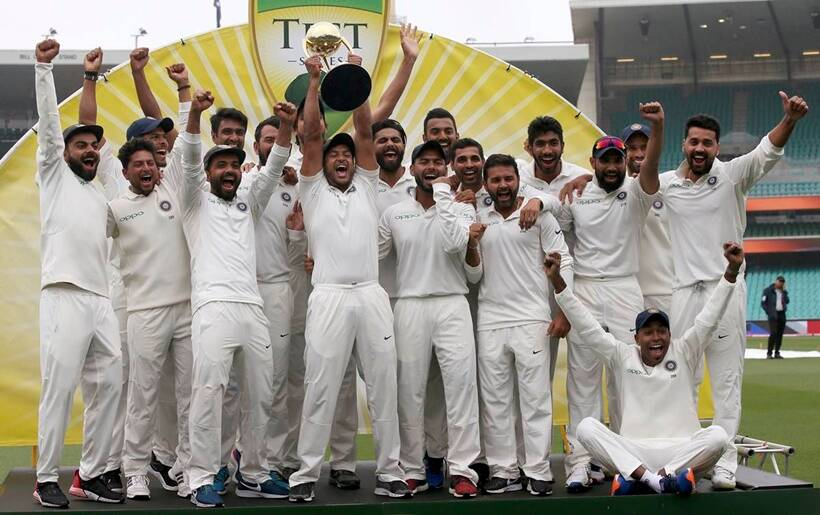 The Indian cricket team celebrate their series win over Australia after play was called off on day 5 of their cricket test match in Sydney,