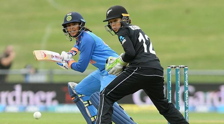 Smriti Mandhana in action in the second ODI against New Zealand