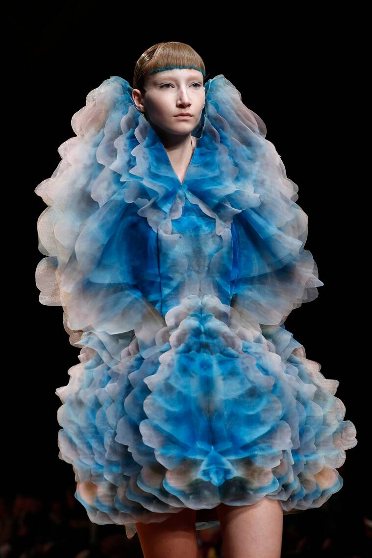 Iris van Herpen, Iris van Herpen couture show, Iris van Herpen Couture's Spring 2019 collection, Iris van Herpen collections, iris van herpen women's collection, iris van herpen's latest collection, iris van herpen fashion show, iris van herpen fashion show 2019, iris van herpen spring 2019 fashion show, indian express, indian express news