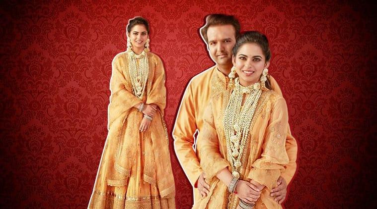 Isha Ambani, isha ambani haldi, isha ambani haldi photos, isha ambani haldi sabyasachi, Isha Ambani wedding, Isha Ambani Anand Piramal, Mukesh Ambani, Reliance, isha ambani graha puja anand piramal, isha ambani pre wedding, isha ambani sabyasachi lehenga, sabyasachi designer lehengas, lehenga designs, indian express, indian express news