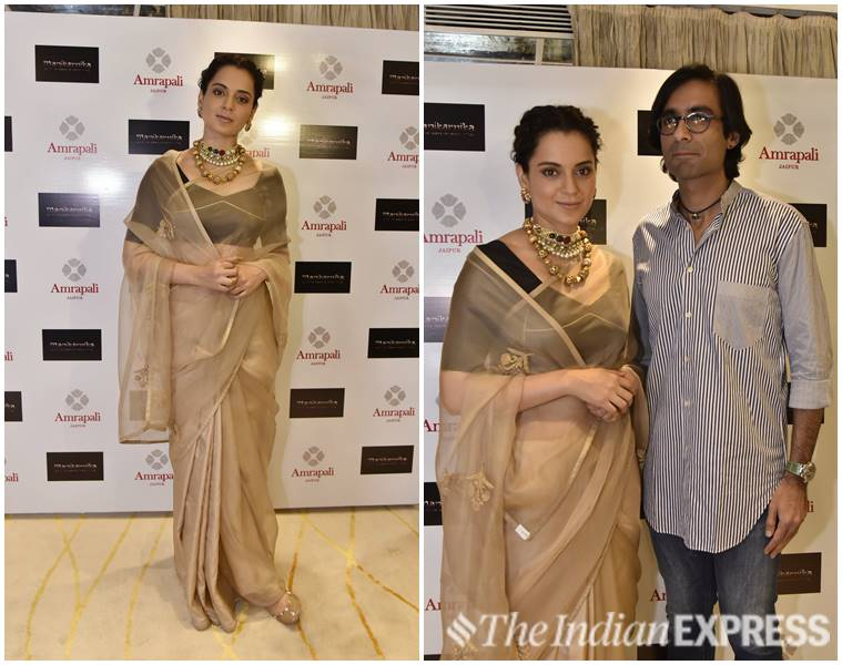 Kangana Ranaut, Manikarnika, Amrapali Jewels, Raw Mango, Kangana Ranaut Manikarnika promotions, Kangana Ranaut Amrapali Jewels, Kangana Ranaut Raw Mango, Kangana Ranaut airport look, Kangana Ranaut sari look, Kangana Ranaut manikarnika film, celeb fashion, bollywood fashion, indian express, indian express news