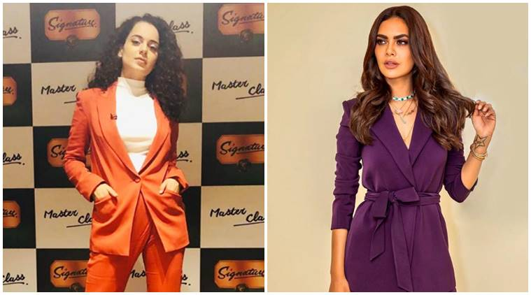 kangana ranaut, esha gupta, sonam kapoor, bollywood actors in powersuits, kangana ranaut fashion, esha gupta fashion, sonam kapoor fashion, celeb fashion, bollywood fashion, indian express, indian express news