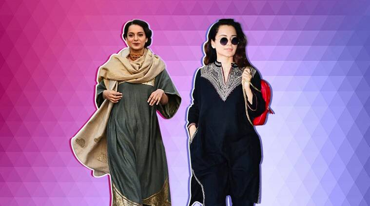 Kangana Ranaut, Manikarnika, Kangana Ranaut latest pics, Kangana Ranaut rekha sari, rekha kangana ranaut, Kangana Ranaut fashion, Kangana Ranaut Manikarnika, celeb fashion, bollywood fashion, indian express, indian express news