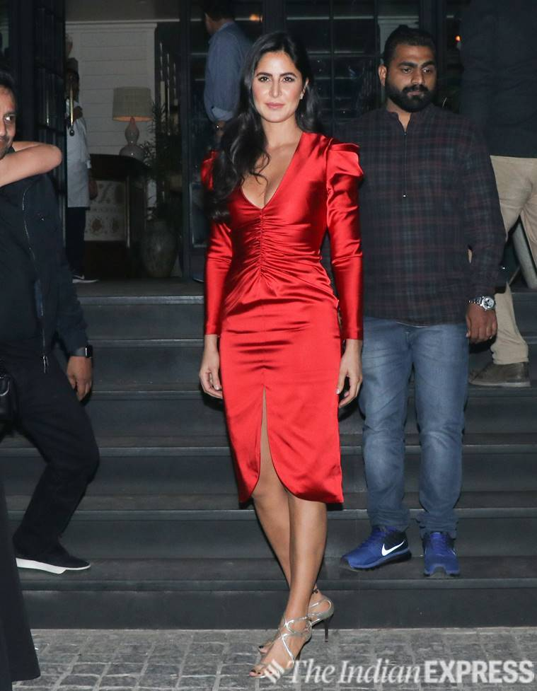 Katrina Kaif, bharat movie, bharat wrap up party, Katrina Kaif fashion, Katrina Kaif red dress, Katrina Kaif pictures, indian express, indian express news