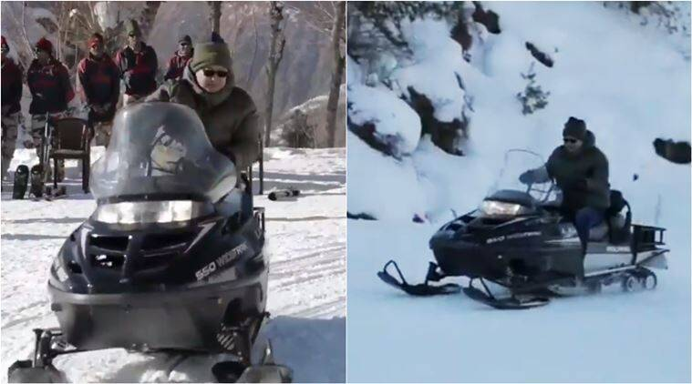kiren rijiju, hows the josh, kiren rijiju snow sccoter, kiren rijiju skiing, kiren rijiju itbp soldier video, indian express, viral video