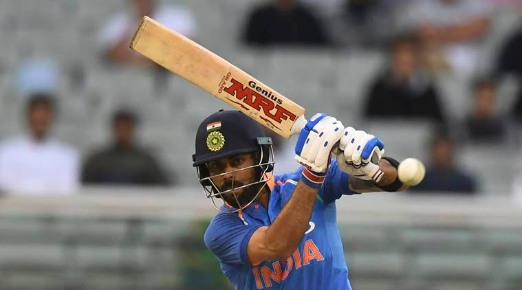 India's Virat Kohli bats during their one day international cricket match against Australia in Melbourne, Australia