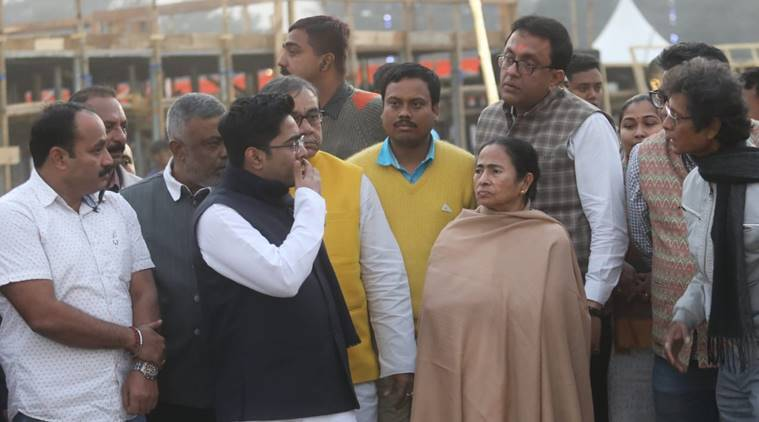 West Bengal Chief Minister Mamata Banerjee reviewed the arrangements at the ground on Friday. (Express photo)