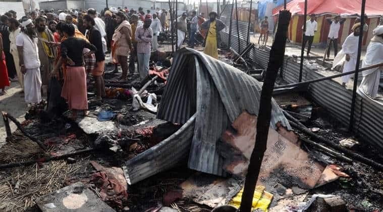 kumbh mela, kumbh mela prayagraj, kumbh mela fire, fire at kumbh mela site, gas cylinder explosion, prayagraj, indian express news