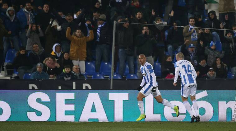 Leganes' Martin Braithwaite celebrates scoring their first goal against Real madrid in the Copa Del Rey