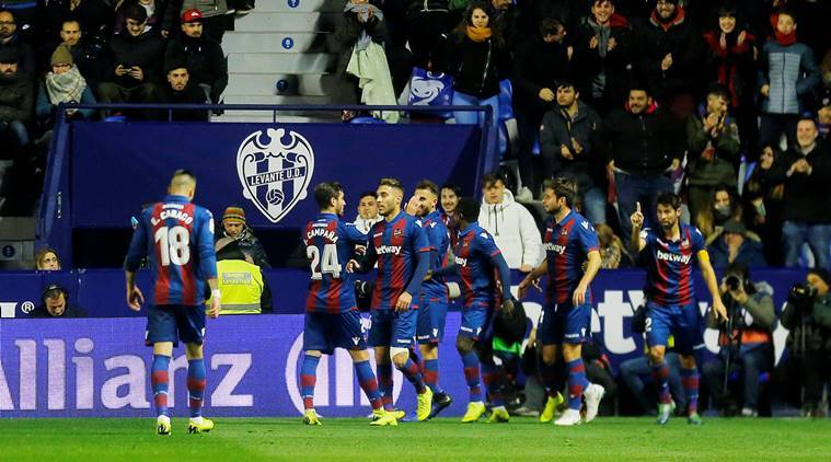 Levante's Borja Mayoral celebrates scoring their second goal against barcelona in the copa del rey with team mates